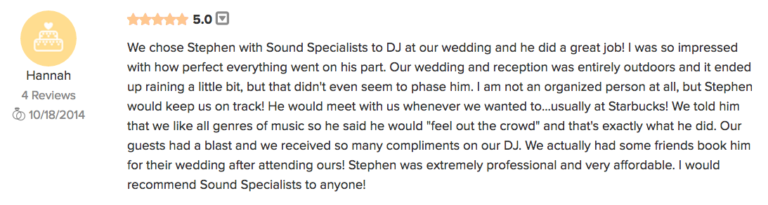 Louisville DJ Award Winning Wedding Reviews from WeddingWire.com