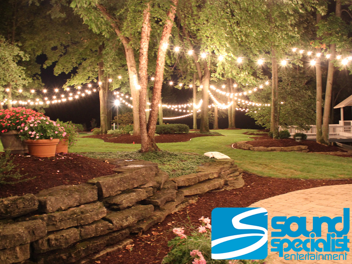 Italian String Lighting for Outdoor Indiana Wedding