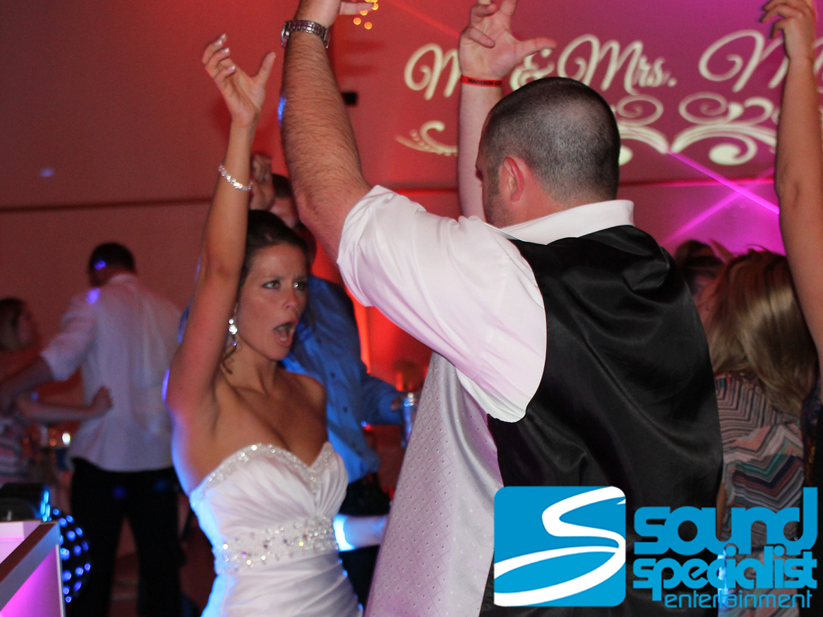 Madison Indiana Wedding Lighting Bride & Groom Dancing