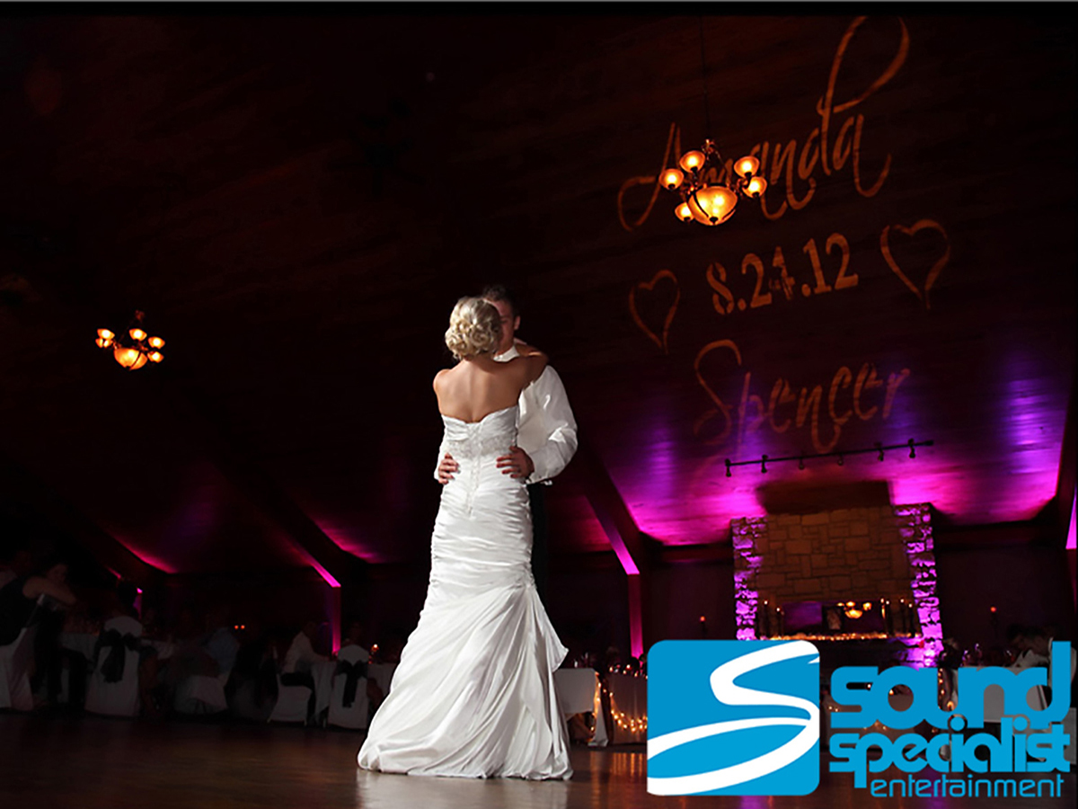 Custom Monogram & Up Lighting for Louisville Wedding First Dance